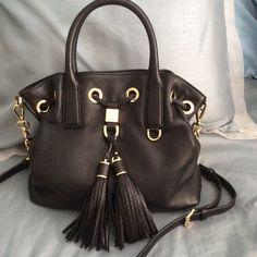 Michael Kors black leather satchel NEW! With detachable strap. Price firm, no trades. Michael Kors Bags Satchels