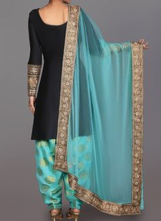 Black and Mint Brocade Punjabi Suit features a taffeta silk kameez alongside a brocade bottom with santoon inner and net dupatta. Embroidery is completed with zari, lace and stone embellishments. Indian Attire, Indian Wear, Pakistani Outfits, Indian Outfits, Embroidery Suits Punjabi, Desi Clothes, Indian Clothes, Indian Designer Suits, Desi Wear