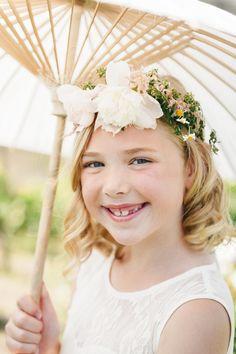 This flower girl is just too cute! http://www.stylemepretty.com/2015/09/28/romantic-malibu-vineyard-wedding/ | Photography: Jana Williams - http://jana-williams.com/