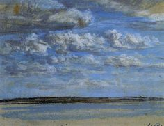 Le Havre. Stormy Skies over the Estuary., 1894 by Eugene Boudin. Impressionism. cloudscape