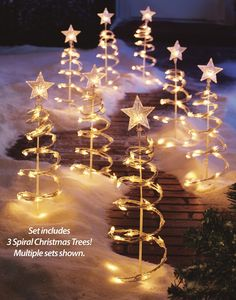 Like this idea for the flower bed that just looks so sad in winter :) Lighted Spiral Christmas Tree Garden Stakes - Set Of 3 Spiral Christmas Tree, Spiral Tree, Christmas Garden, Xmas Tree, Christmas Music, Christmas Wedding, Christmas Lights, Christmas Time, Christmas Ideas