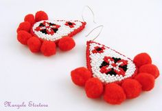 Over-sized Ethnic Bead Embroidery Earrings with Traditional Romanian Motifs, Statement Pom-pom Earrings Beaded Embroidery, Hand Embroidery, Soutache Earrings, Happy Colors, Seed Beads, Ethnic, Gifts For Her, Craft Projects, Handmade Jewelry