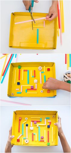 KidMade DIY Recycled Cardboard Marble Maze Fun recycled project from start to finish that gets kids tinkering building and proud of making their own handmade toy Kids Crafts, Recycled Crafts Kids, Craft Projects, Easy Crafts, Art Games For Kids, Activities For Kids, Recycling For Kids, Diy For Kids, Cool Diy