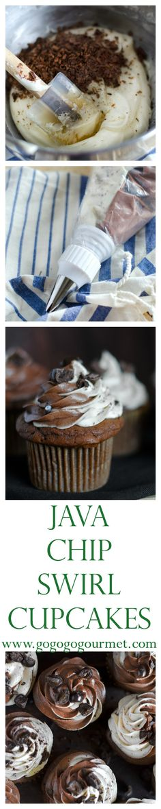 All the flavors from your favorite chocolate coffee drink - in cupcake form! Chocolate cake topped with a swirled frosting (mocha and white buttercream, flecked with bittersweet chocolate) and topped with chocolate covered espresso beans, using Pillsbury's Purely Simple baking mixes from @target  | Go Go Go Gourmet @gogogogourmet #purelysimple #ad