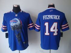 fb4d56285 Nike Bills  14 Ryan Fitzpatrick Royal Blue Team Color Men s Embroidered NFL  Helmet Tri-