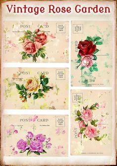 Vintage Rose Garden Post Card Set for Tags by SenecaPondCrafts, $2.00