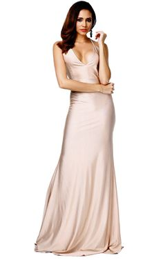 A stunning hourglass shaped dress with deep plunge neckline and exposed back.