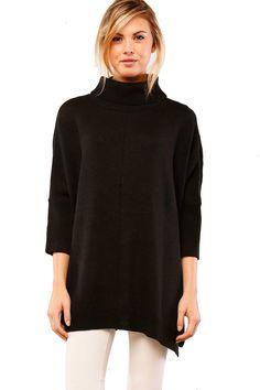 La Rue 3/4 Sleeve Oversized Sweater - Black