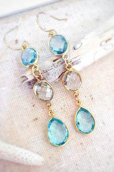 Blue topaz Earrings Green Amethyst Earrings Gemstone