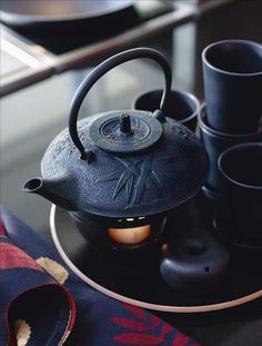 Cast iron teapot.