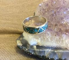 Mens turquoise and silver band ring, Southwest chevron design, inlaid turquoise, men's wedding band by RobinsVintageDesign on Etsy