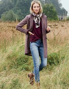love the top, scarf, and jacket. that purple is one of my favorite colors