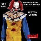 6ft Evil Clown Animated Figure-Halloween Decoration/Prop SCARY PRESALE Lifesize