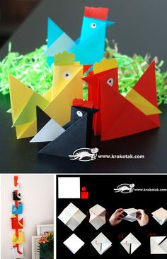 These origami hens are so sweet! Teach your kids how to make them after school!