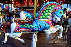 Carousel Horse with Sea Motif Art Print by Mary Deal Carosel Horse, Horse Armor, Carrousel, Painted Pony, Hand Painted, Wooden Horse, Unicorn Art, Merry Go Round, Fantasy