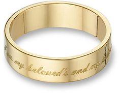 "applesofgold.com - ""I Am My Beloved's and My Beloved Is Mine"" Wedding Band, 14K Gold"