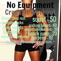 Fitness Health: CrossFit Workout - No Equipment Needed. when after bubut comes out. Hiit, Cardio, Crossfit At Home, Circuit Training, Strength Training, Wellness, Yoga, I Work Out, Fitness Nutrition