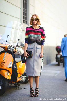 Women's Multi colored Horizontal Striped Crew-neck Sweater, Light Blue Pencil…