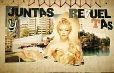 Editorial cartonera | collage | Portada para Juntas y Revueltas, poemario de LIz Gallegos y Victoria Ramírez