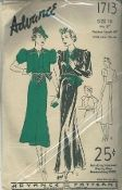 An original ca. 1930's Advance Pattern 1713.  Dress or evening gown with bolero jacket.  Dress has shaped empire waistline and narrow V-neckline with small winged collar.  Skirt is 4 gore  Jacket has sleeves that are heavily gathered at sleeve caps and can be finished as short sleeves with small bands, or long sleeved.