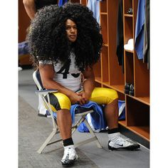 American football star Troy Polamalu and his hair, which has been insured for $1 million...