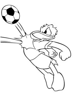 donald duck playing soccer coloring page