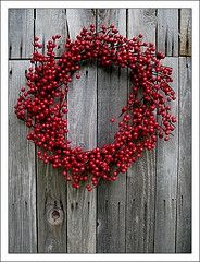 i love simple red berry wreaths.