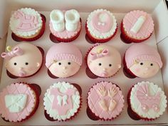 These lovely pink cupcakes will be perfect for your baby girl in her welcoming party! They're fabulous, adorable and definitely tasty! Cupcakes, Baby Girl Themes Decoration For Modern Baby Shower Cake Cute Baby Shower Cakes Design & Decoration (Cute Cake Baby Cupcake, Baby Shower Cupcakes For Girls, Baby Shower Cake Pops, Shower Cakes, Cupcake Cakes, Cake Baby, Christening Cupcakes Girl, Boys Cupcakes, Cake Fondant