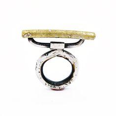 Sterling silver 'Balancing Bar' ring, set with 24k Gold leaf