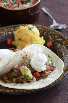 Refried lentils with corn cake casserole and tomato-avocado-onion ...