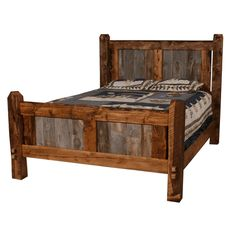 A rustic bedroom needs barnwood furniture to get that special feel of living in the woods. A barnwood bed can help complete a bedroom's overall decor. Barnwood Furniture, Rustic Bedding, Furniture, Rustic Bedroom Furniture, Reclaimed Wood Beds, Log Furniture, Wood Furniture Plans, Pallet Furniture, Home Furniture