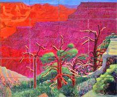 right detail: David Hockney A Bigger Grand Canyon National Galleiy of Australia 1999 David Hockney David Hockney Artwork, David Hockney Landscapes, Robert Rauschenberg, Edward Hopper, Posters Uk, Pop Art Movement, Landscape Artwork, Wow Art, Art Plastique