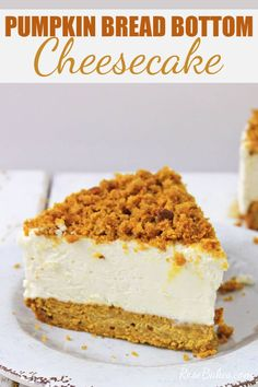 Pumpkin Bread Bottom Cheesecake Recipe - If you love pumpkin bread, and cheesecake, you're going to love this recipe! It's really delicious, easy to make and is a fabulous Fall dessert. You can serve it after a five course meal, or after big bowls of Chili, or Thanksgiving dinner, either way, it's so versatile it really goes with anything. #pumpkin #bread #pumpkinbread #cheesecake #pumpkinbreadcheesecake #dessert #thanksgiving #fall #falldessert #thanksgivingdessert