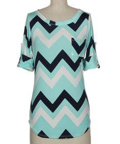 Look at this #zulilyfind! Mint & White Zigzag Roll-Tab Sleeve Tee - Women by Fashionomics #zulilyfinds