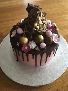 Chocolate fudge cake and white chocolate fondant icing gravity