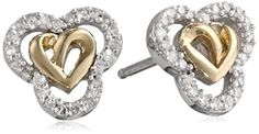 Love Knot Sterling Silver and 14k Gold Diamond Love Knot Heart Earrings Amazon Curated Collection