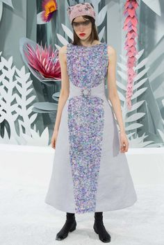 GARMENT INTERPRETATION 5:  Chanel spring 2015 Couture collection, this garment has a different twist to it because of the two different types of fabric.  Source Link: http://www.style.com/slideshows/fashion-shows/spring-2015-couture/chanel/collection/60