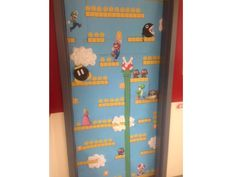 Mario themed door- Rachel W. Classroom Door, Classroom Setup, Classroom Displays, School Classroom, Neon Room, Class Door, Class Displays, Teacher Doors, Game Themes