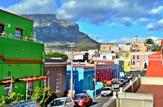 Bo Kaap with colourful houses and a view of Table Mountain in the background