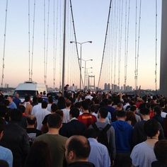 The brave people of Turkey protested all night in all cities. In this photo (which is not mine) you can see the residents of Anatolian side of İstanbul crossing the Bosphorus Bridge (normally no pedestrians are allowed) to support the Gezi Park Resistance in Taksim. #direngeziparki Police terror hasn't stopped yet.
