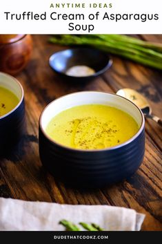 Combining the earthy and nutty flavors of black truffle with fresh asparagus results in this creamy Truffled Cream of Asparagus Soup that serves as the perfect appetizer/starter or a meal in itself --- either enjoyed hot or cold (as a chilled soup). #souprecipes #blacktruffle #asparagus #asparagussoup #chilledsoup #wintersoups #vegetablesoups Asparagus Soup, Asparagus Recipe, Fresh Asparagus, Easy Soup Recipes, Low Carb Recipes, Chilled Soup, Winter Soups, Crock Pot Soup, Vegetarian Soup
