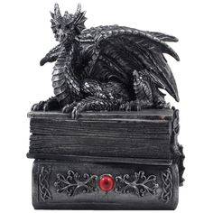 Mythical Guardian Dragon Trinket Box Statue with Hidden Book Storage Compartment for Decorative Gothic & Medieval Home Decor Sculptures and Figurines As Jewelry Boxes or Magical Fantasy Gifts for Office Study Library
