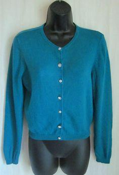 MODA INTERNATIONAL Teal Rhinestone Btn SILK CASHMERE Cardigan Sweater M Medium #ModaInternational #Cardigan