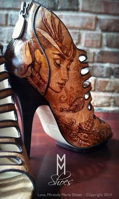 Hand painted steampunk shoes by Love, Miranda Marie. Perfect for a Steampunk Wedding! lovemirandamarie.etsy.com