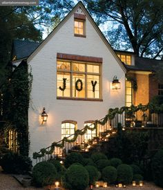 Love the JOY on the exterior of the house and the way it is lit up. a house on a hill cannot be hidden . . .