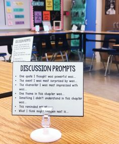"Megan DuVarney Forbes on Instagram: ""Today we started using these discussion prompts in class and it went so well! We are doing a novel study, and the first day of group…"" Ela Classroom, Classroom Activities, Middle School Classroom, Future Classroom, Classroom Ideas, Teaching Time, Teaching Reading, 6th Grade Reading, 6th Grade Ela"