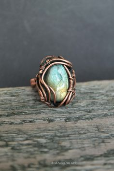 Copper Ring Wire Ring Wire jewelry labradorite by LenaSinelnikArt