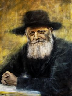 Original oil painting - Rabbi Loubavitch