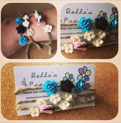 3 Festival Flower Bracelets ... £2.50 only  perfect gift