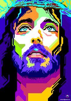 jesus wpap - Szukaj w gl d Image Jesus, Modern Art, Contemporary Art, Sketch Manga, Religion, Jesus Painting, Pop Art Portraits, Jesus Art, Jesus Pictures